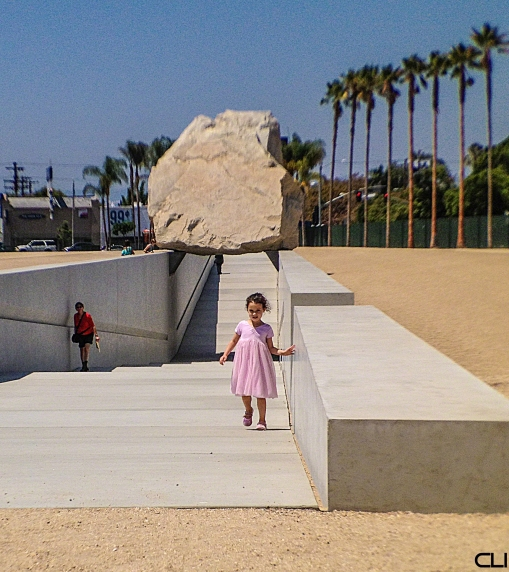 There's a story here... very big rock. LA is in prime earthquake country. Great faith in structural engineering...