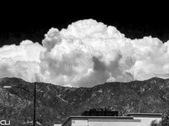 On hot days in LA the thunderheads form out in the desert...
