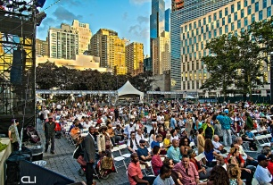 The crowd at Damrosch Park, Lincoln Center