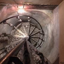 Looking down the stairway.
