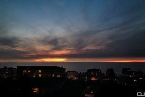 Ship and Sun on horizon.