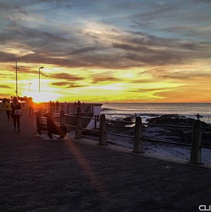 Sea Point beachfront at sunset.